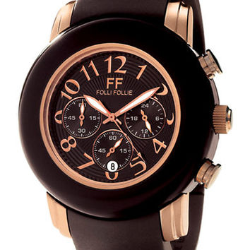 Folli Follie Ladies Urban Spin Brown and Rose Gold Watch