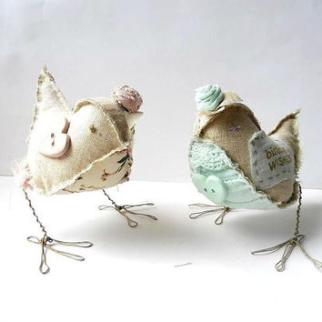 Birthday Gift Idea - Fabric Bird Handmade Soft Figurine fabric soft sculpture with print Happy Birthday, mint green, pale pink