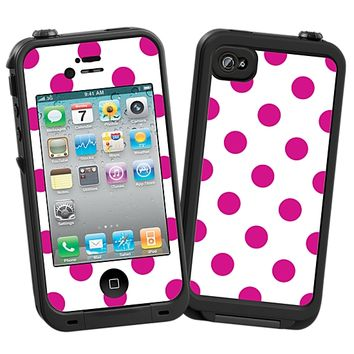 Fuchsia Polka Dot on White Skin for the iPhone 4/4S Lifeproof Case by skinzy.com