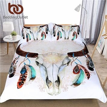 Tribal Skull Feathers Bedding Set