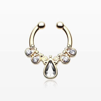 Golden Radiant Kao Fake Septum Clip-On Ring