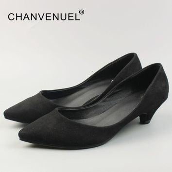 Spring Office Lady Pumps Korean Style Shallow Women Shoes Sexy Low Heel Pointed Toe Pump Woman Basic Classic Big Size