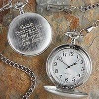 Personalized Silver Pocket Watch With Engraved Monogram - Romantic Gifts