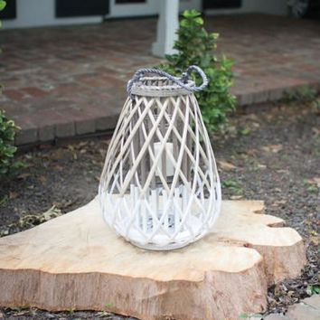 Grey & White Willow Lantern With Glass - Large
