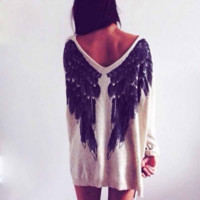 Fashion European Style Women Long Sleeve V-neck T-shirt Tops Casual Sexy Loose Blouses