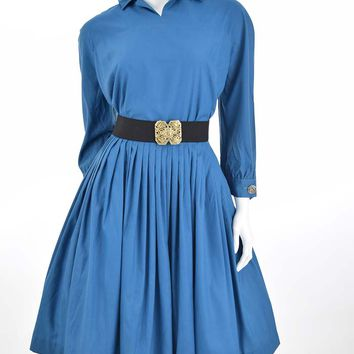 50s Teal Blue Cotton Full Dress-S