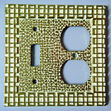 Light Switch Plate / Vintage Brass Toggle & Double Outlet Wall Plate,Cover / Brass Gold White Color Geometric Design