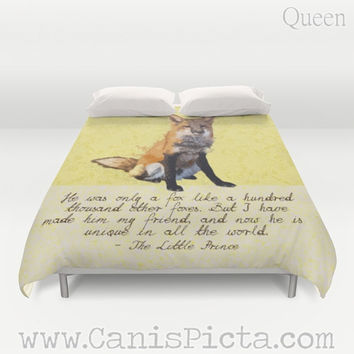 Duvet Cover Fox The Little Prince Woodland QUEEN KING size Quote Yellow Orange Home Couch Art Wildlife Children Neutral Kid Book Gift Cute