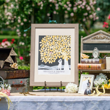 Unique Wedding Guestbook // with Personalized Skyline & Silhouette // 100+ Signature Guestbook // Poster or Canvas // W-T05-1PS HH3 HH3