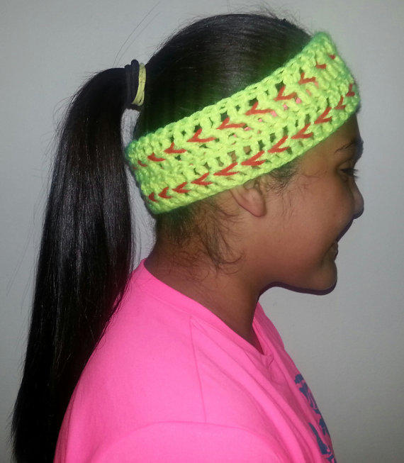 Free Crochet Pattern For Softball Headband : Crocheted softball headband from BrownEyedGirlBowtiq on Etsy