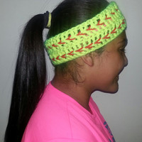 Crocheted softball headband