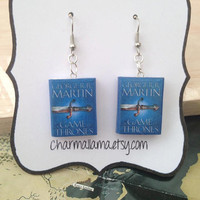 A Song of Ice and Fire / A Game of Thrones book charm earrings