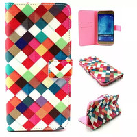 Multicolor Grid Leather Case Cover for iPhone & Samsung Galaxy