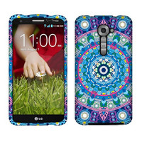 NextKin Bohemian Blue Mandala 2D Silver Glossy Snap-On Back and Front Hard Case Cover for LG Optimus G2 vs980 Verizon