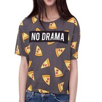 Your Gallery Women's Short Sleeve Crew Neck Pizza Print Fashion Tee Blouse
