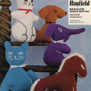 Soft Toys knitting pattern PDF instant download White Rabbit Cat Elephant Horse Dog. Height varies 2. 3-30 cms. Double knitting Vintage toys