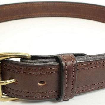Brown Double Stitched Bullhide Handcrafted Belt for Work, Casual, or Gun Carry - Lifetime Warranty