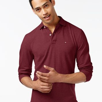 Tommy Hilfiger Burgundy Large Mesh Polo Shirt Large