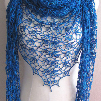 Deep Teal Lace Crochet Shawl Hand Dyed Mulberry Silk Yarn Handmade Versatile Lightweight Scarf Wrap