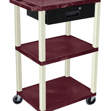 Luxor Mobile 42 Multipurpose Tuffy Utility Service Cart With 3 Storage Shelves Lockable Drawer Burgundy Putty Legs
