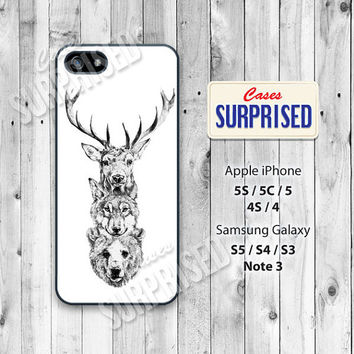 Deer, Wolf, Bear, Animal, iPhone 5 case, iPhone 5C Case, iPhone 5S case, Phone case, iPhone 4 Case, iPhone 4S Case, Phone Skin, Phone Cover