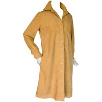 Halston Tan Ultrasuede Trench Coat 1970s Size M