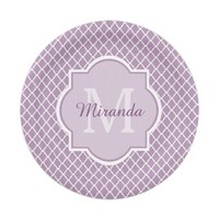 Modern Monogram Light Purple Quatrefoil With Name 7 Inch Paper Plate