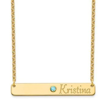 Personalized Center Crystal Birthstone & Right Aligned Name Bar Necklace
