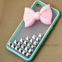 Iphone 5 Case, Baby Pink Bow Iphone 5 Case, Silver Studs Iphone 5 Case, Mint Green Frame Transparent Iphone 5 Case