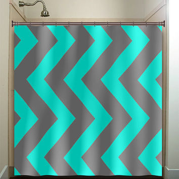 Turquoise Aqua Blue Gray Vertical Chevron Shower Curtain Bathroom Decor  Fabric Kids Bath White Black Custom