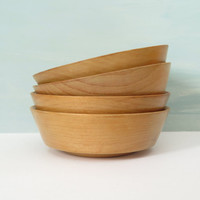 Set of Four Wooden Salad Bowls