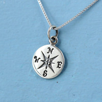Compass necklace, sterling silver, graduation gift, gift for traveler or best friend