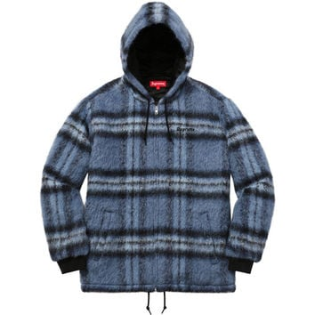Supreme: Mohair Hooded Work Jacket - Blue