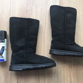Hotter black suede leather boots size ~ 3 (ugg boot style)