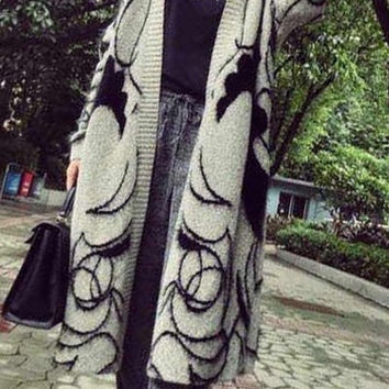 Black and Gray Collarless Figure Pattern Cardigan