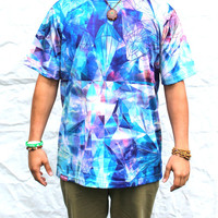 Men's Tee in The Lucy in the Sky Blotter Print- Rave, all over, crazy, Sublimated, Trippy, Sacred, digital, hippy, festival edm forest