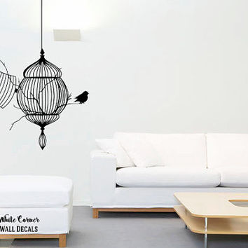 rta207 Little Birds Birdcage Animals Nature Fly Kids Children Living Room Bedroom Nursery Wall Decal Vinyl Sticker Decals Art Decor Design