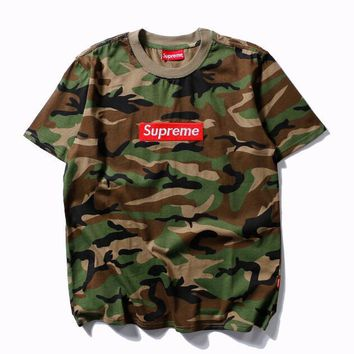 Supreme Fashion Round Neck Camouflage Short Sleeve T-Shirt