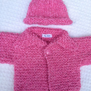Baby Girl Clothes baby girl handknit 6 month Pink sweater and hat babyshowergift made By Lala on Etsy