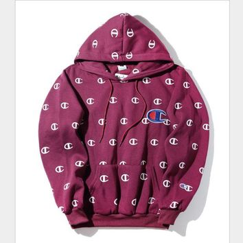 ONETOW Champion printed hoodies large embroidered sweater Men and women couples Harajuku wind velvet jacket Wine red