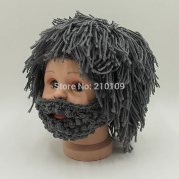 Novelty Wig Beard Hats Hobo Rasta Caveman Handmade Knitted Warm Winter Caps Baby Boy Girl Halloween Gift Funny Children Beanies