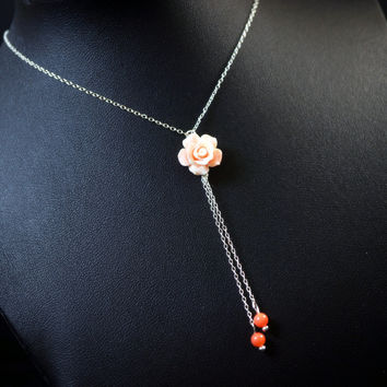 Tiny Coral Necklace Sterling Silver Lariat Necklace - Rose Flower Necklace - Coral Tassel Necklace - Gift For Her - Tiny Silver Necklace
