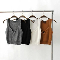 Hot Sexy Bralette Stylish Summer Beach Comfortable V-neck Crop Top Knit Stretch Slim High Waist Tops Vest [7086229185]