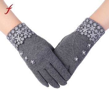 Feitong New Brand Womens Gloves 2017 Fashion Ladies Lace Phone Touch Screen Winter Warm Gloves Mittens Cashmere