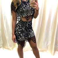 Oh Hey Babe Lace Two-Piece Dress - nude/black