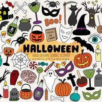 Halloween Clip Art. Hand Drawn Halloween Clipart. Doodle Halloween Illustation. Digital Pumpkin, Candy, Candle Clipart. Ghost, Spider Images