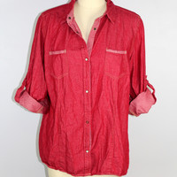 CE Schmidt Workwear Fit For Her Womens Snap Shirt 1X Red