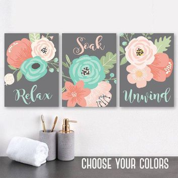 Coral Aqua Gray BATHROOM Wall Art, CANVAS or Print, Flower Bathroom Decor, Floral Bathroom Quote Wall Decor, Relax Soak Unwind, Set of 3 Art