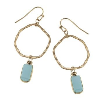 Worn Gold Hammered Hoop With Linked Glass Bead Earring