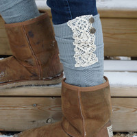 Boot Socks - Lace Grey Socks -Grey Boot Socks with Cream Lace and  Buttons
